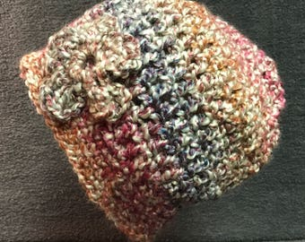Soft Hat with Flower AppliqueHats, Caps, Crochet, Winter Hats, Beanies, Skull Caps, Made in America