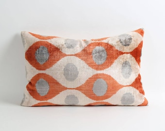 ikat velvet pillow, ikat pillow cover, velvet pillow, 14x22 orange gray ivory decorative pillow cover, handwoven ikat pillow