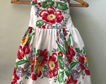 Little Girls Dress, Vintage Fabric, Vintage 1930's Tablecloth, One of a Kind, Size 5, Summer Beach Dress, Red and White Print Childs Dress