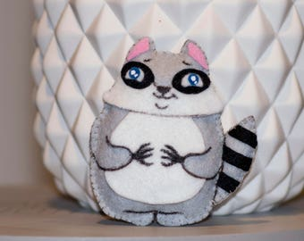 Mini plush raccoon