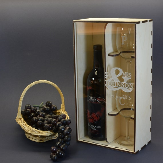 Engraved Wine Box With Clear Acrylic Front Cover And 2