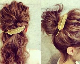 Feather hairclip, Sparrow barrette feather hair clip