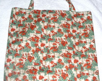 Lovely bright red Geraniums in pots cloth shopping bag