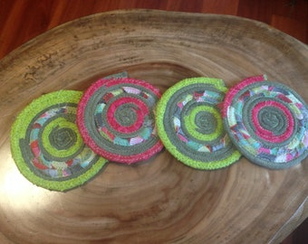 coiled rope coasters, rope coasters, coiled fabric mug rug, hand-dyed boho
