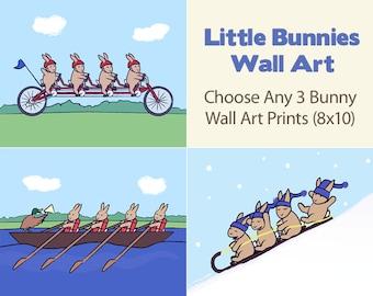 Bunny Nursery Art - Set of 3 Kids Wall Art Prints - 8x10