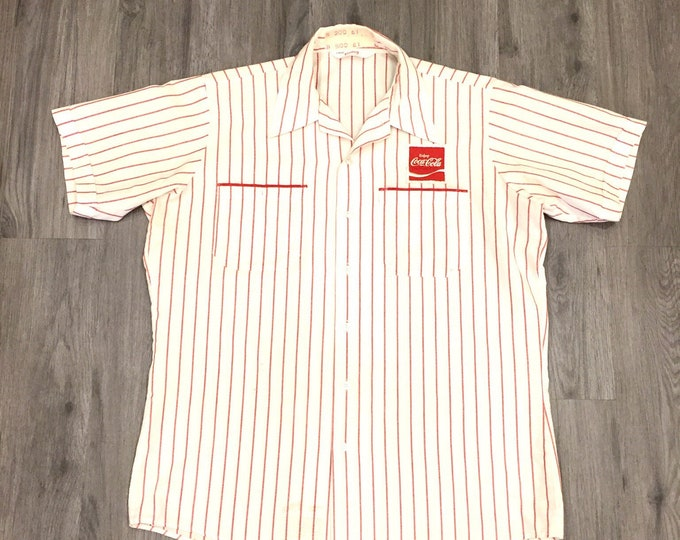 80s Striped Button Up Shirt with Coca Cola Patch