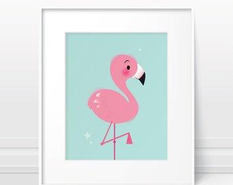 Girl nursery print, flamingo print, nursery decor girl, baby girl nursery, nursery wall art girl, nursery prints, cute flamingo, cute art