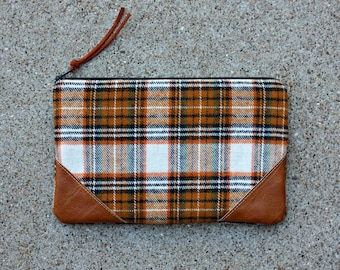 Plaid Flannel Clutch with Faux Leather