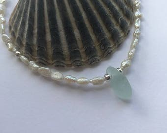 Fresh Water Pearl and Sea Glass Necklace