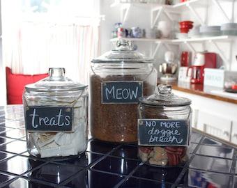 Ensemble de 3 étiquettes de stockage des aliments pour animaux en bois - tableau en détresse