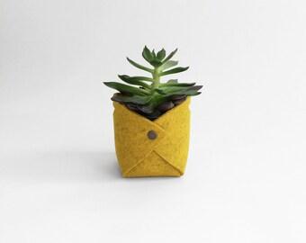 Fabric Planter | Wool Felt Plant Holder | Felt Basket