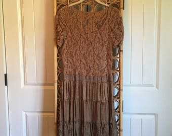 Upcycled Recycled Repurposed Lacey Feminine Dress S/M