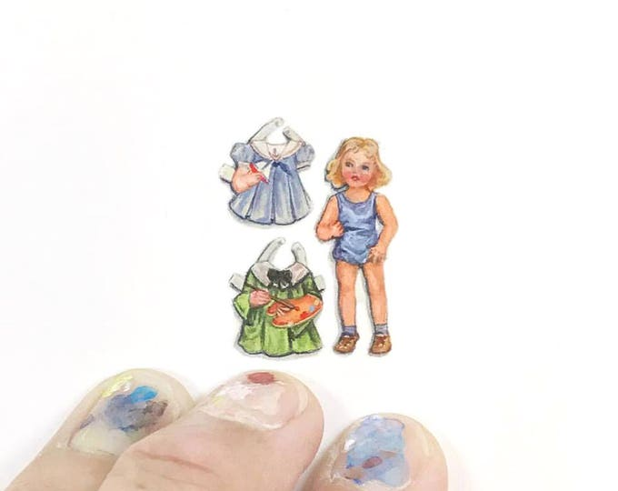 Print of miniature watercolor painting of vintage paper doll.  giclee print of paper doll watercolor painting