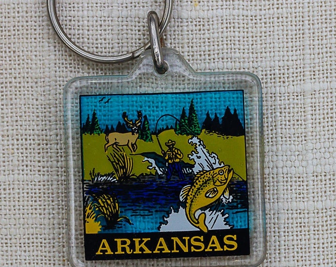 Vintage Arkansas Fishing Keychain Fly Fish Key FOB Key Chain 7PP