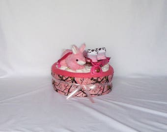 Pink Woods Hunting Diaper Cake with Pink Receiving Blanket, Pampers, Pink Plush Bunny, Pink Sippy Cup, Pink Baby Booties and More