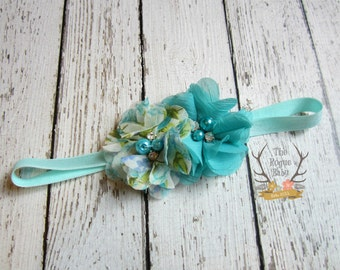 Aqua and Teal Headband - Baby Headband - Aqua - Floral - Teal - Photo Prop - Rhinestones Pearls Wedding Flower Girl