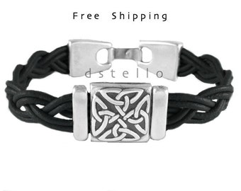 Mothers day gifts, Mens bracelet, celtic knot leather bracelet, celtic jewellery cuff, Irish scottish, gaelic, Anniversary gifts custom made