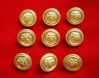 9 Gold Tone Metal Shank Buttons with Ram's Head