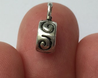 15 Swirl Bail Beads Antique Silver - BD03