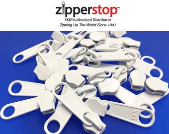 Zipper Repair Kit Solution YKK #3 Coil Non Lock Long Pull Slider Color White or Black Made in USA  25pcs a Pack-ZipperStop Wholesale  YKK®