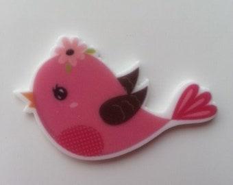 cabochon en résine   avec impression oiseau rose 40*27mm