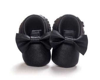Free shipping to US and PR,black shoes,black moccasins,bow shoes,newborn shoes,baby moccasins,girl shoes,boots baby,toddler shoes
