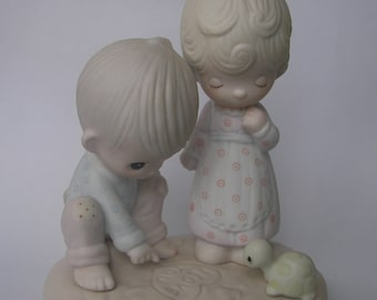 "Precious Moments ""Thou Art Mine"" Porcelain Figurine - Enesco - Vintage Collectible - 1979 - Retired - Boy Girl Turtle - I Love You"