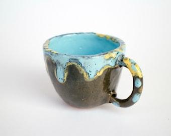 Handmade ceramic coffee cup, tea cup one piece, pinch pot, ceramic cup, ceramic, ceramics and pottery, Stoneware mug, pottery mug