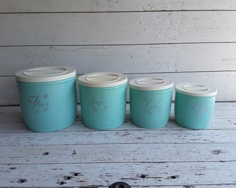 1950u0027s Blue/Turquoise With Silver Lettering And Daisies Plastic Canister  Set, Vintage Kitchen Canisters