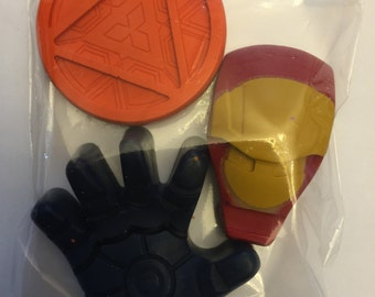 Ironman Party Favor crayons * Set of 3 pieces * Perfect for Party Favors * Stocking Stuffers * Small Gifts