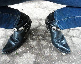 Leather Boot Straps with conchos and chains spurs buckle