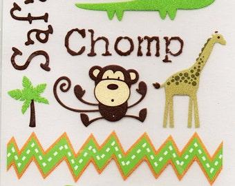 Zoo Animals  DCWV Safari Kids Scrapbook Rub Ons Transfers  Embellishments Cardmaking Crafts
