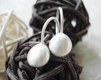 sterling silver drop earrings matte finish dangle earrings -oxidized finish- silver nugget solid silver pebble