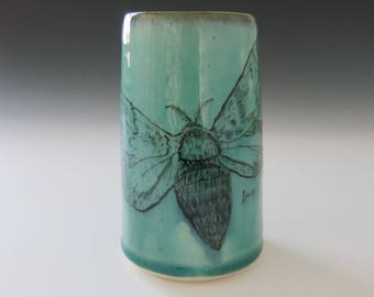 Moth Aqua Green Art Vase Handmade Ceramic Hand-Drawn Painted Tattoo Insect Lepidoptera Home Decor, Artisan Pottery by Licia Lucas Pfadt