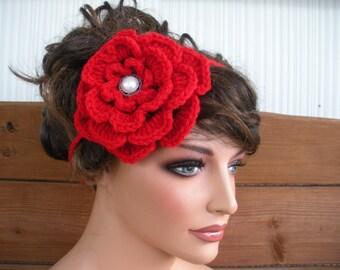 Women Boho Headband Crochet Headband Summer Accessories Women Forehead Headband Festival Flower Headband in Cherry Red - Choose color