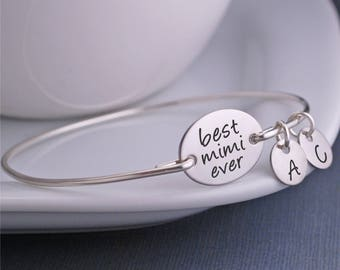 Mother's Day Gift for Mimi, Personalized Best Mimi Ever Bracelet in Silver, Initial Bangle Bracelet for Mimi