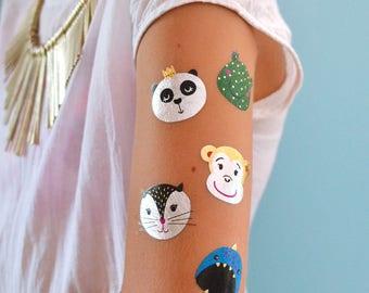 Party Animal Variety Set metallic temporary kids Flash Tattoos- 25 pre-cut tattoos designs: cat, frog, fish, panda, monkey, kids tattoo