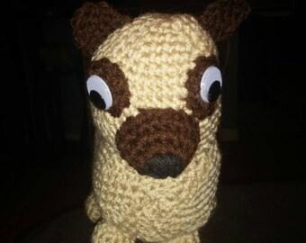 Pug, stuffed animal, plush toy, stuffed dog, arigurumi, plush dog
