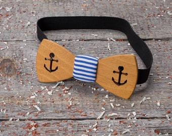 Wood bow tie marine, cruise wooden bow tie, navy blue, seaman, summer tie Boyfriend gift, Gifts for Him, Personalized. frock pocket square.