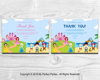 Personalised  Princess and Pirate Children's Birthday Party Thank You Cards - PACK OF 10