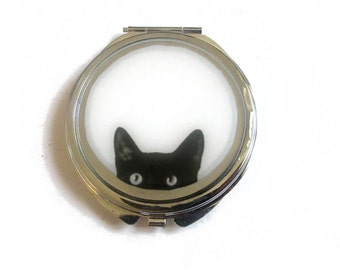 CAT MIRROR - handmade pocket mirror - vintage compact mirror - black cat mirror - purse mirror - cat lovers accessories - gift for her