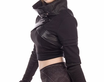 SECOND quality, on SALE, Plutonium, cyberpunk, anime inspired cropped jacket with cowl neckline by Plastik Wrap.