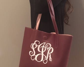 Monogram Purse. Monogam Faux leather tote bag. Monogram handbag. Embroidered Purse. Monogrammed Purse.
