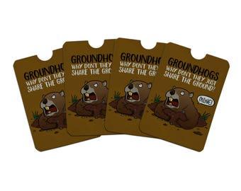 Groundhog won't share funny credit card rfid blocker holder protector wallet purse sleeves set of 4