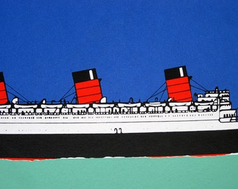 496 : Cunard Liner - Queen Mary - limited edition screenprint