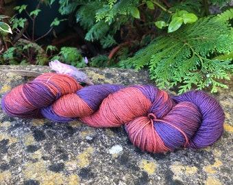 """100grms hand painted merino/yak/nylon  yarn """" anenome"""""""