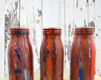 Painted Milk Bottle Decor, Rustic Decor, Country Decor, Farmhouse Decor, Centerpiece, Vase, Vase, Colorful Decor, Gift for Her, Bottles