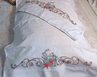 GARDEN GATE PILLOWCASES Embroidered Red Roses Green Leaves Brown & Gold Scrolls, Unused 1960 Bed Linen, Percale Cotton 21 x 29 Sears Harmony