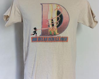 Vtg 1978 Bob Dylan Concert T-Shirt Beige 70s Classic Rock Folk