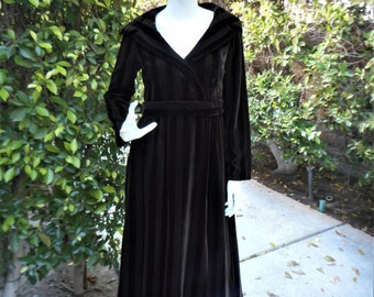 Vintage 1970's Helga Chocolate Brown Velvet Striped Evening Dress - Size 12